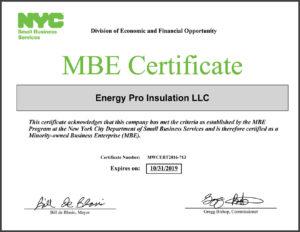 MBE Ceritified sprayfoam insulation contractor in Brooklyn NY